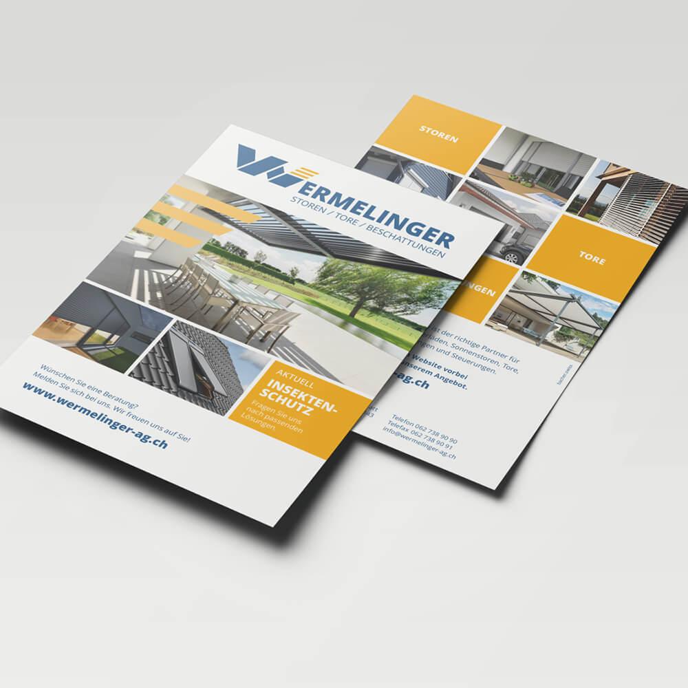 Flyer Wermelinger AG als Kundenreferenz von Bacher PrePress