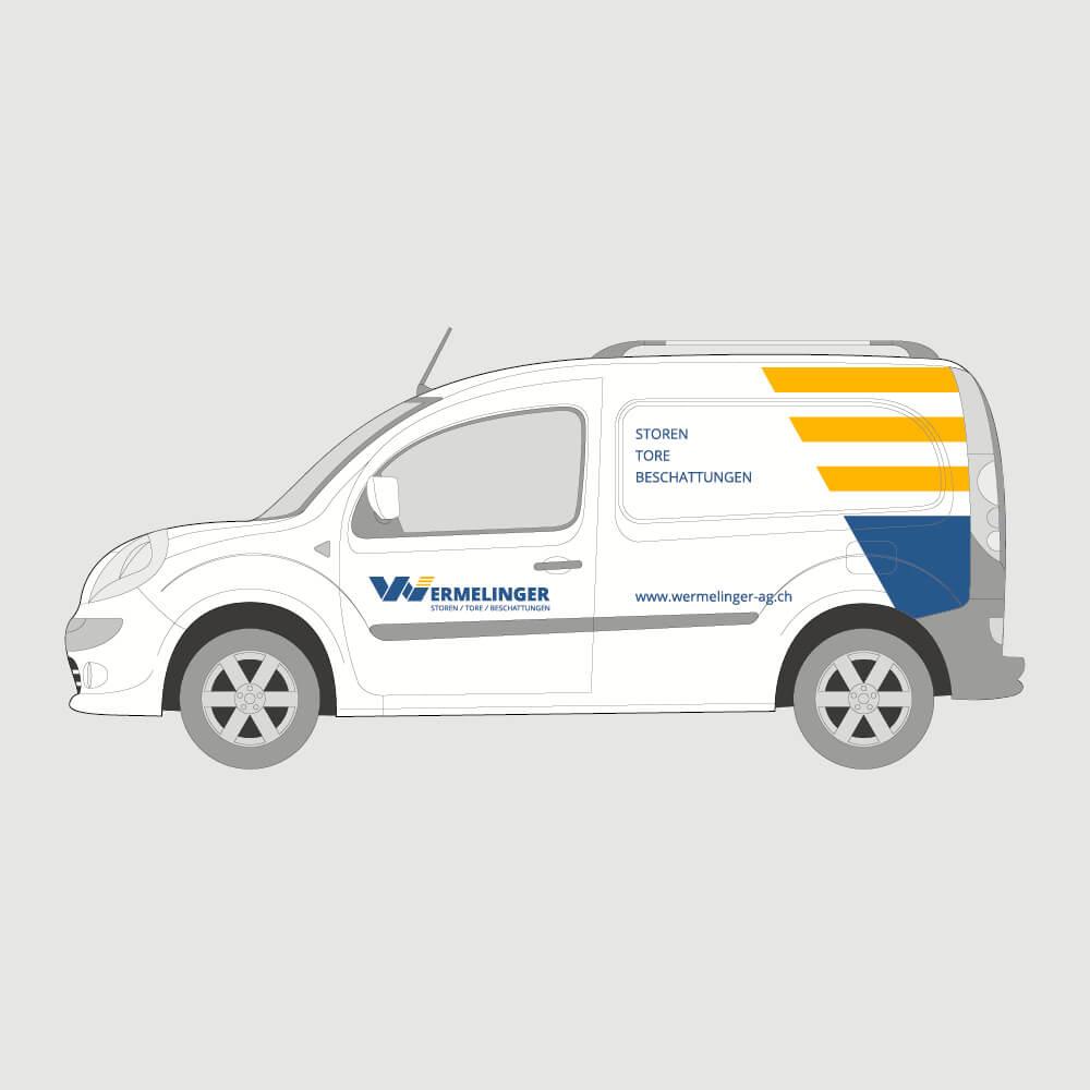 Autobeschriftung Wermelinger AG als Kundenreferenz von Bacher PrePress