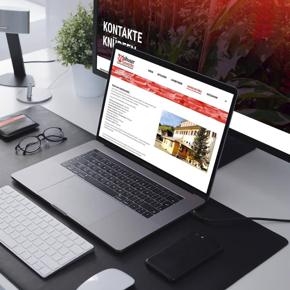 Website Gewerbeverein Wolhusen als Kundenreferenz von Bacher PrePress