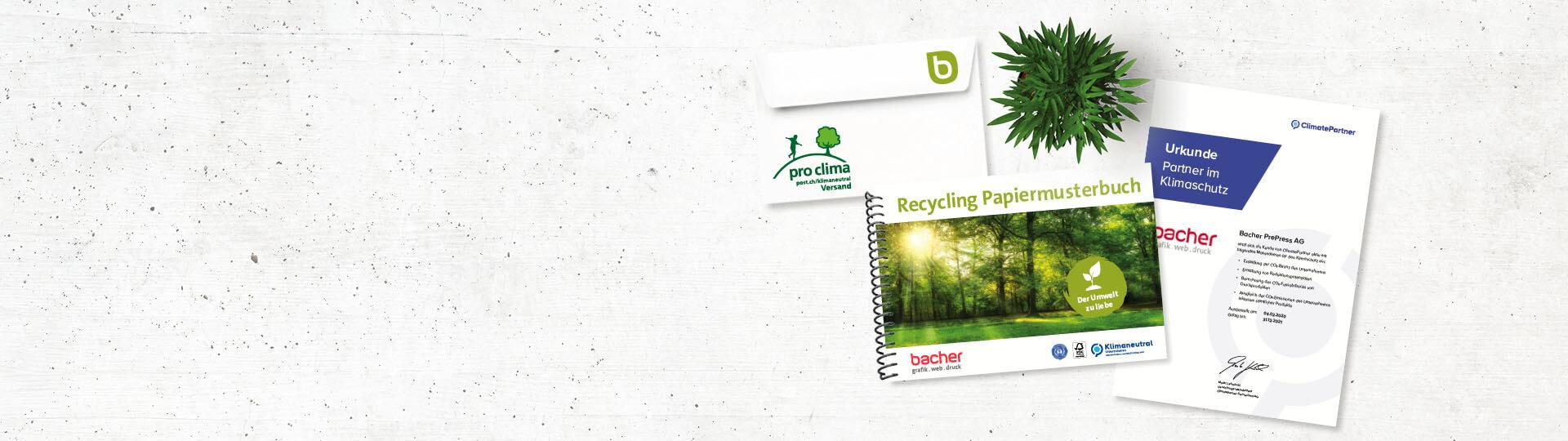 Klimaschutz Slider Bacher PrePress mit Urkunde und Recycling Papiermusterbuch