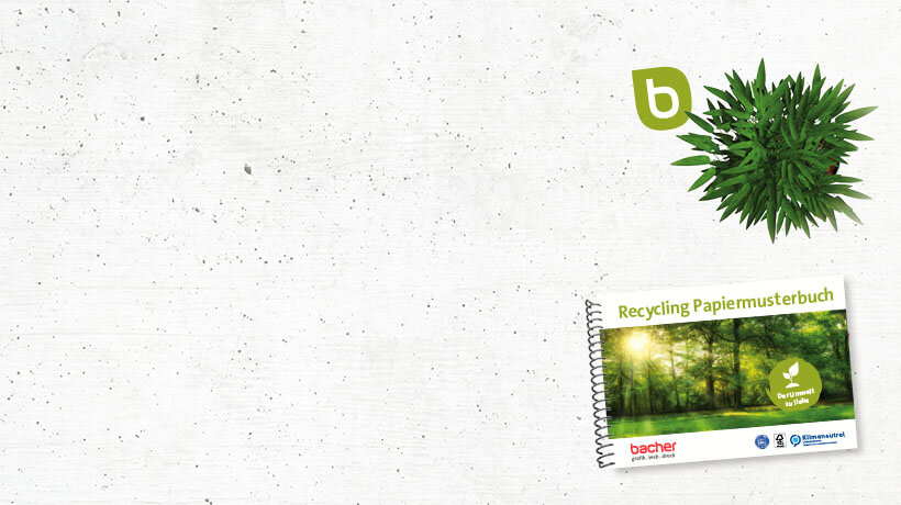 Klimaschutz Slider BacherPrePress mit Pflanze und Recychling Papiermusterbuch
