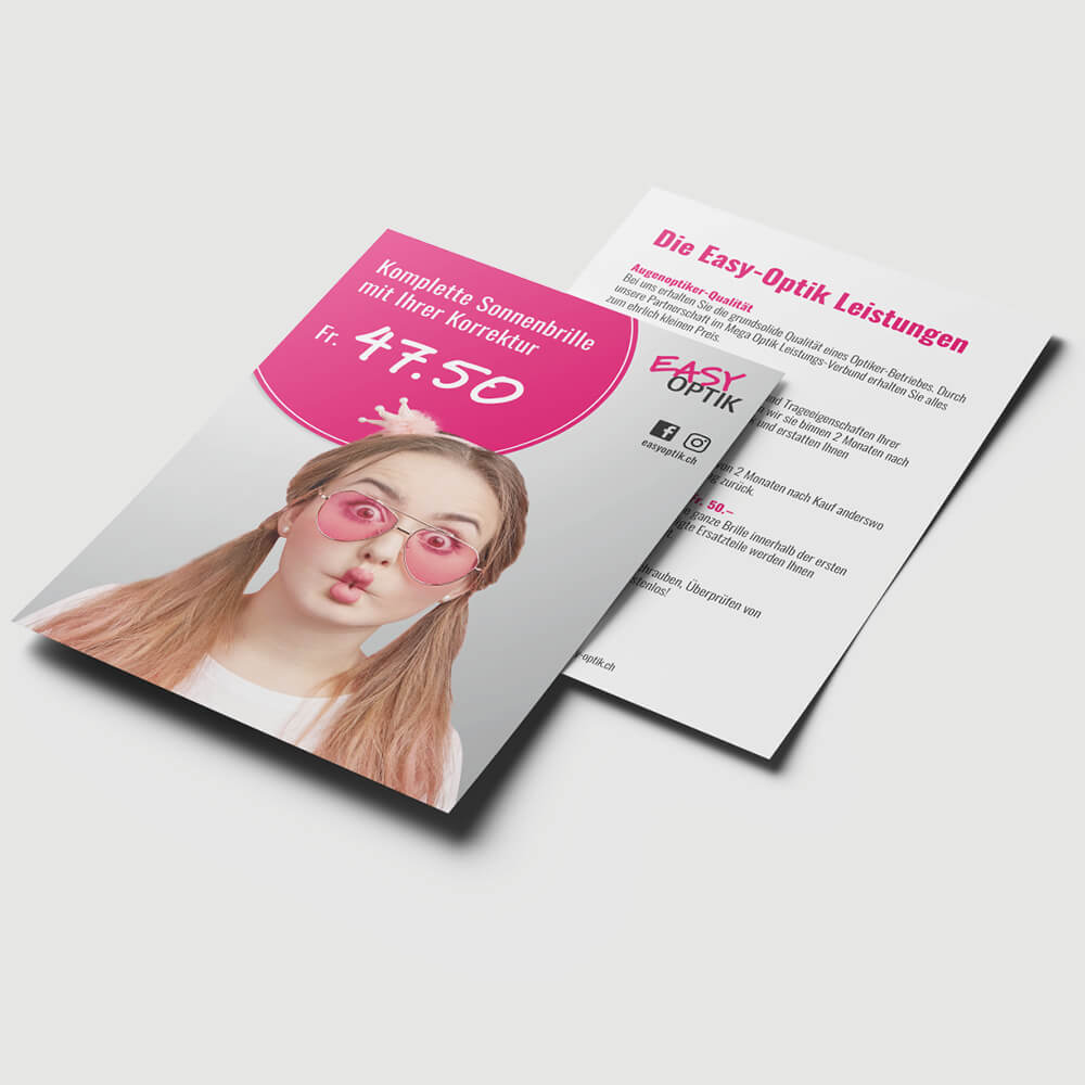 Flyer Easy Optik Luzern als Kundenreferenz von Bacher PrePress