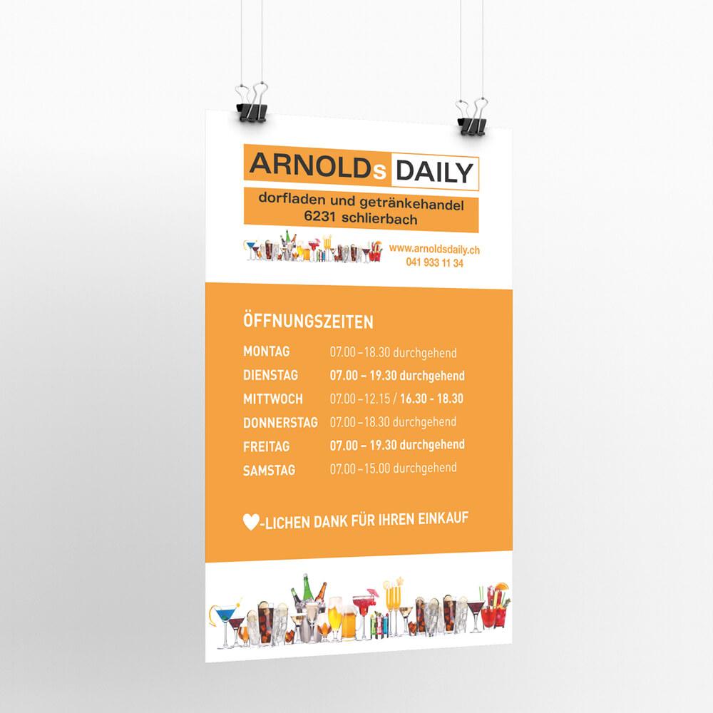 Plakat Arnols Daily Schlierbach als Kundenreferenz von Bacher PrePress