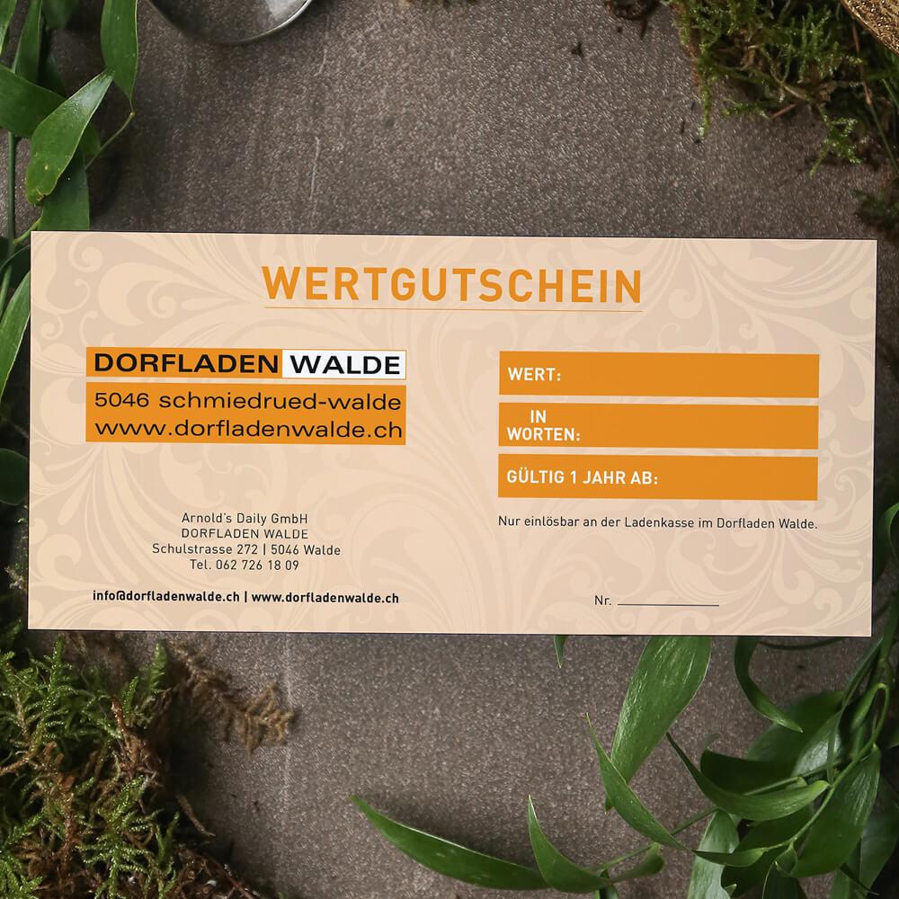 Gutschein Arnols Daily Schlierbach als Kundenreferenz von Bacher PrePress