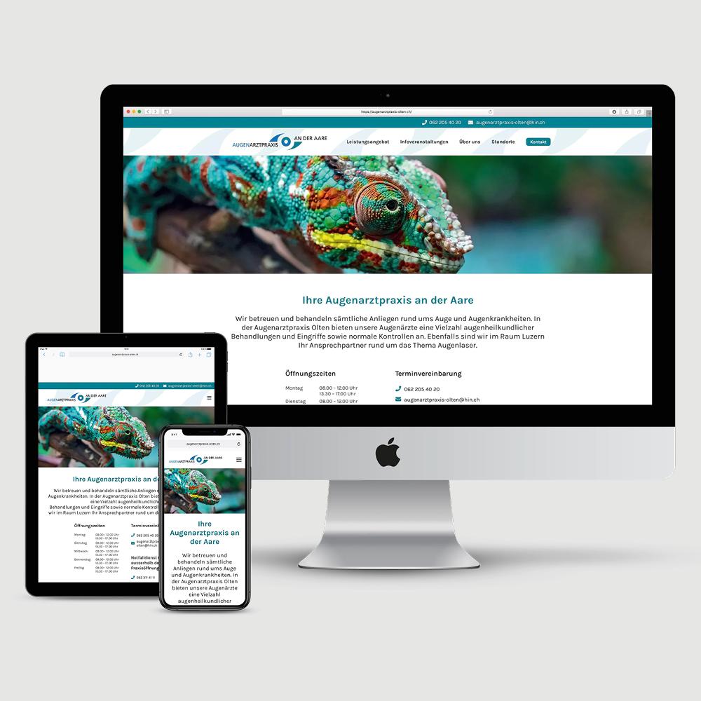 Website Augenpraxis an der Aare Olten als Kundenreferenz von Bacher PrePress