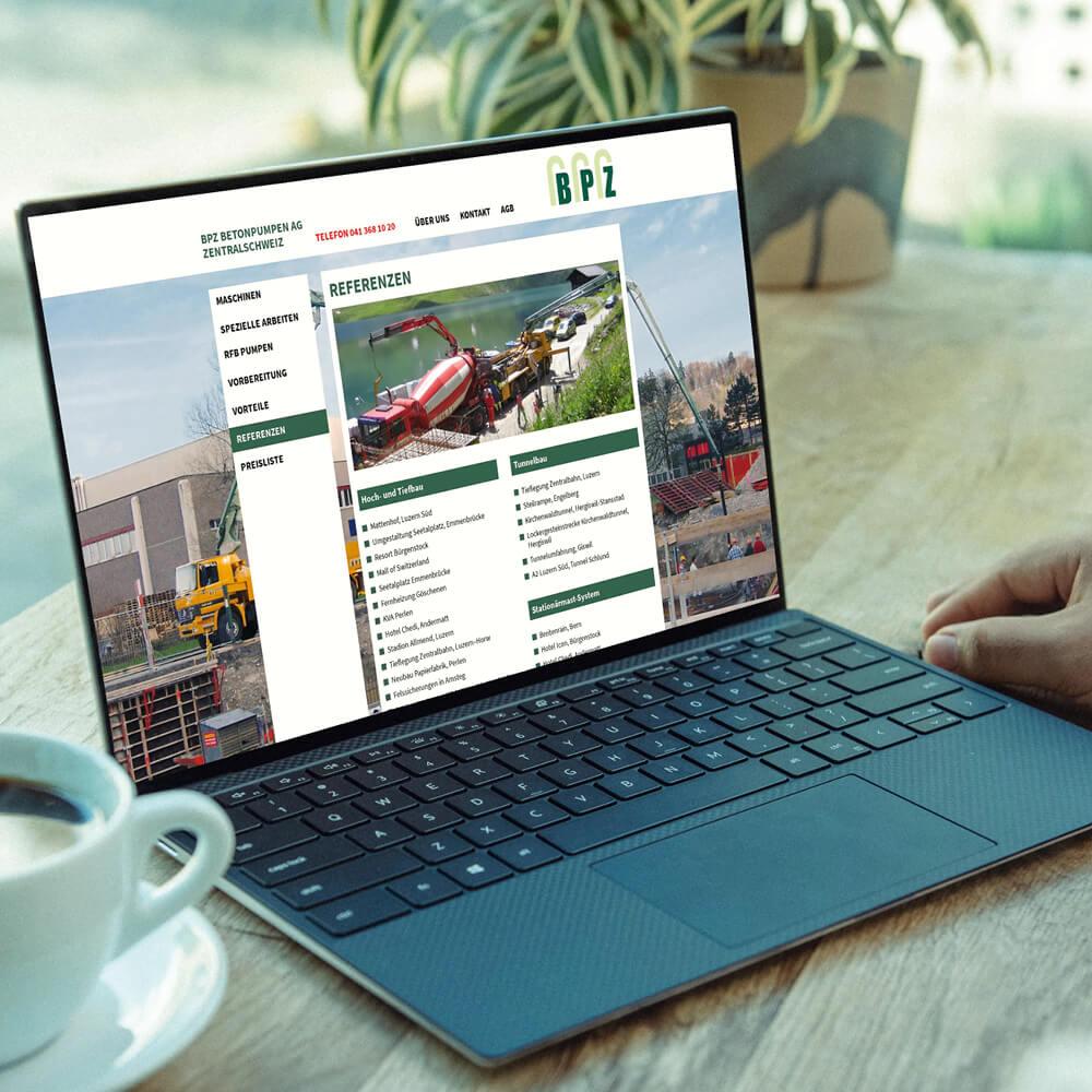 Website BPZ Betonpumpen Zentralschweiz als Kundenreferenz von Bacher PrePress