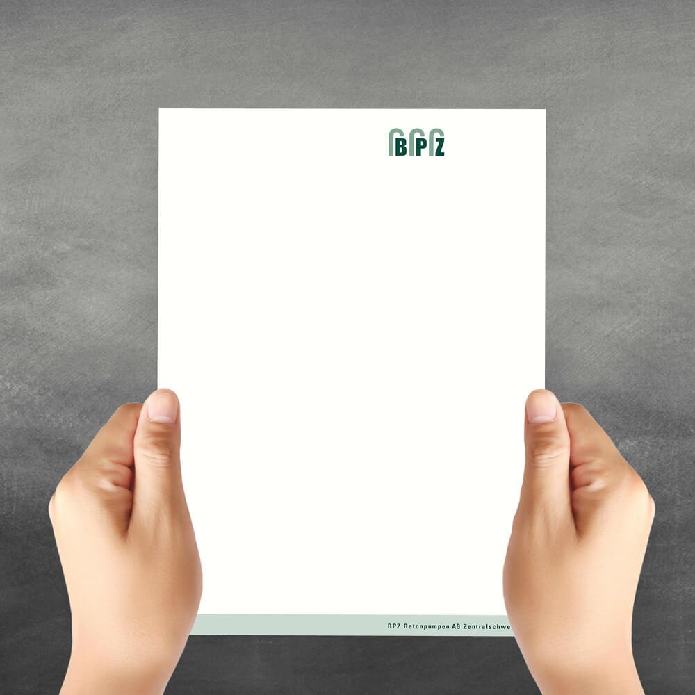 Briefpapier BPZ Betonpumpen Zentralschweiz als Kundenreferenz von Bacher PrePress
