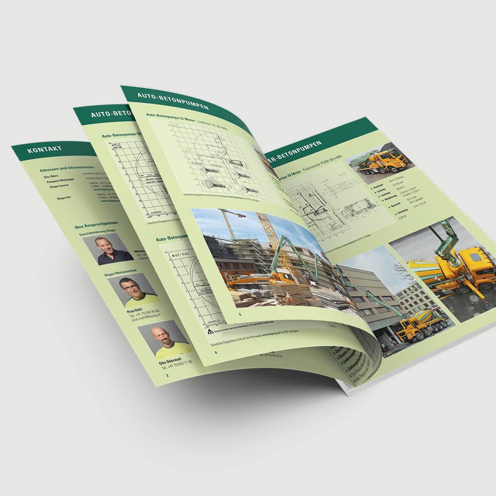 Broschüre BPZ Betonpumpen Zentralschweiz als Kundenreferenz von Bacher PrePress