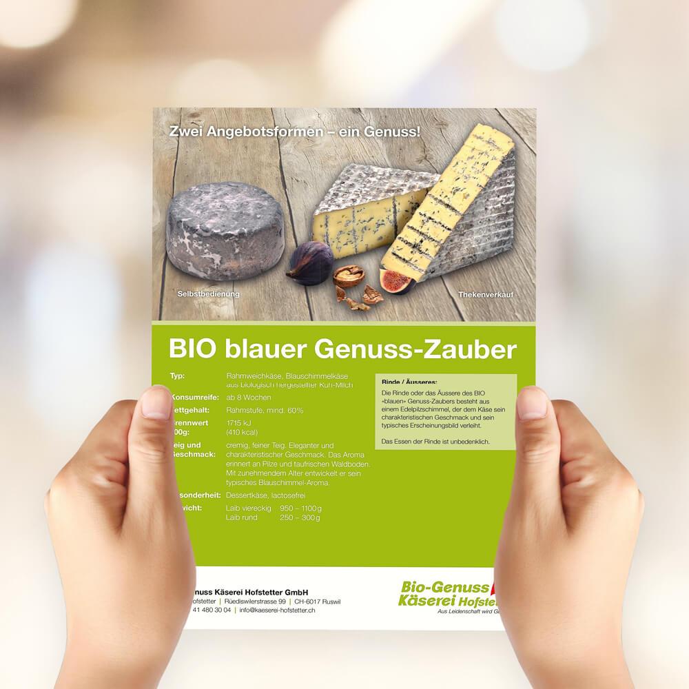 Flyer blauer Genuss-Zauber Bio Genuss Käserei Hofstetter als Kundenreferenz von Bacher PrePress