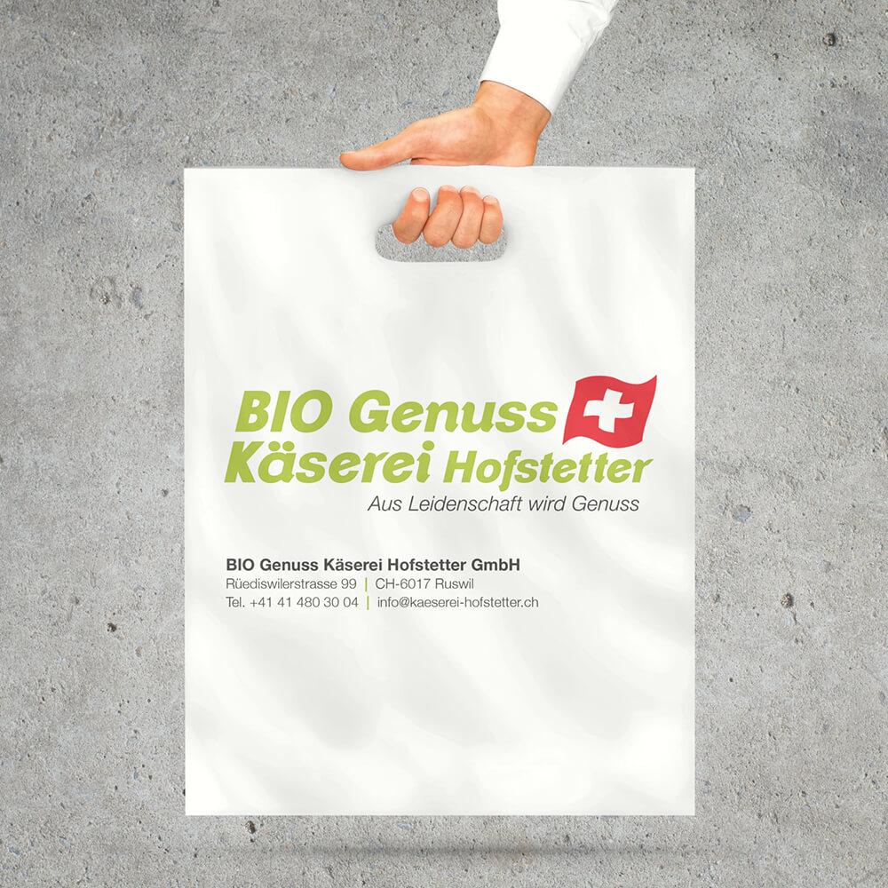 Tragetasche Bio Genuss Käserei Hofstetter als Kundenreferenz von Bacher PrePress