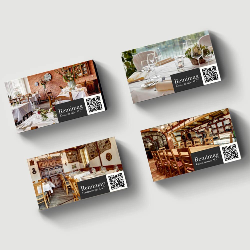 Visitenkarten Remimag Gastronomie als Kundenreferenz von Bacher PrePress