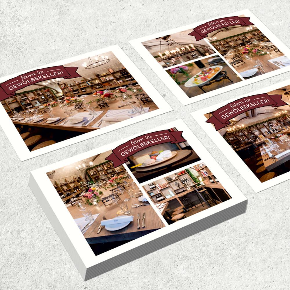 Postkarten Remimag Gastronomie als Kundenreferenz von Bacher PrePress