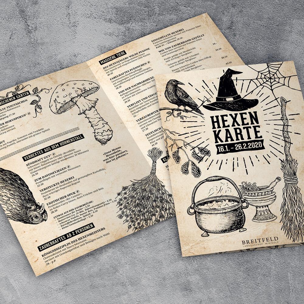 Hexenkarte Remimag Gastronomie als Kundenreferenz von Bacher PrePress