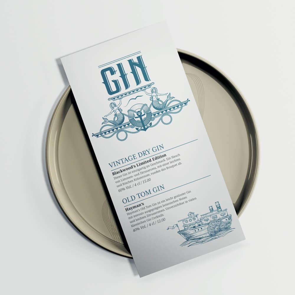 Gin-Karte Remimag Gastronomie als Kundenreferenz von Bacher PrePress