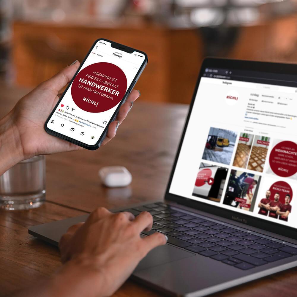 Website Richli Parkett als Kundenreferenz von Bacher PrePress