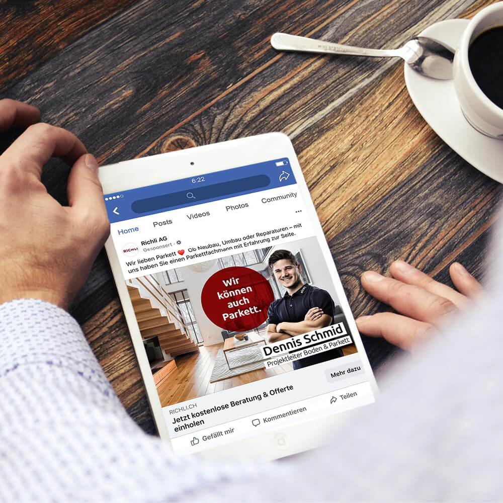 Social Media Service Richli Parkett als Kundenreferenz von Bacher PrePress
