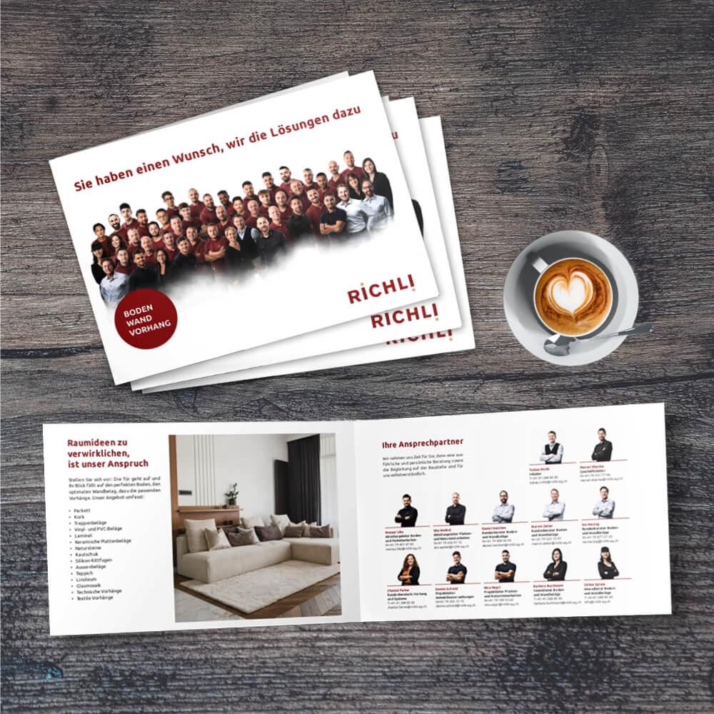 Imagebroschüre Richli Parkett als Kundenreferenz von Bacher PrePress