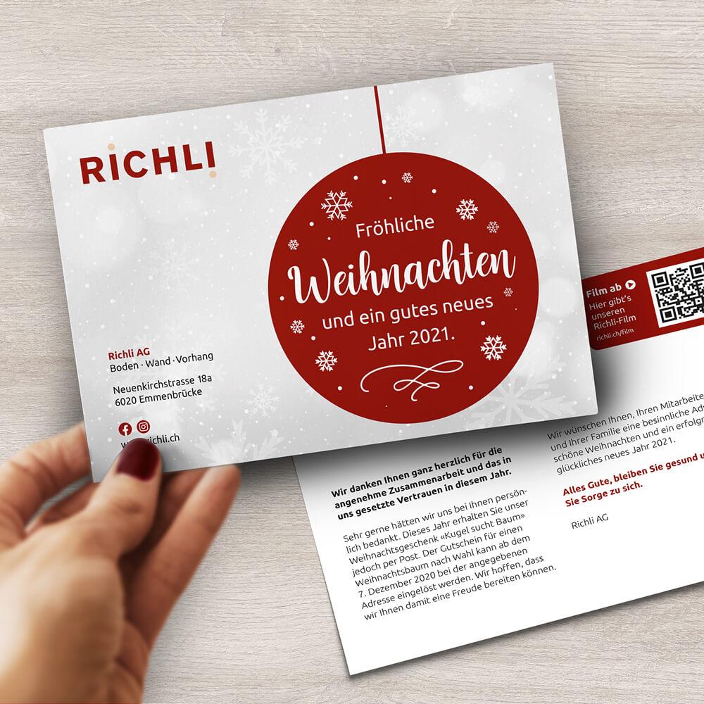 Weihnachtskarte Richli Parkett als Kundenreferenz von Bacher PrePress