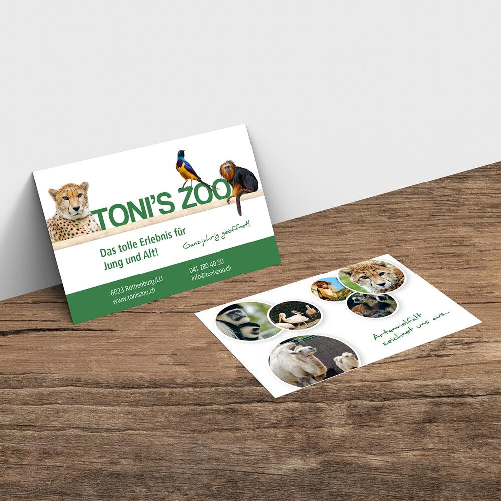 Visitenkarte Tonis Zoo Rothenburg als Kundenreferenz von Bacher PrePress