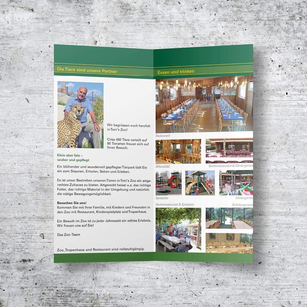 Werbeflyer Tonis Zoo Rothenburg als Kundenreferenz von Bacher PrePress