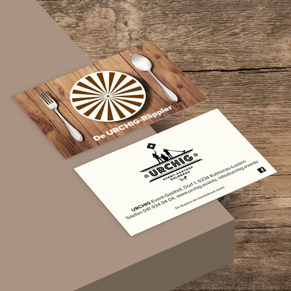 Visitenkarte Urchig Event Gasthof Kulmerau als Kundenreferenz von Bacher PrePress