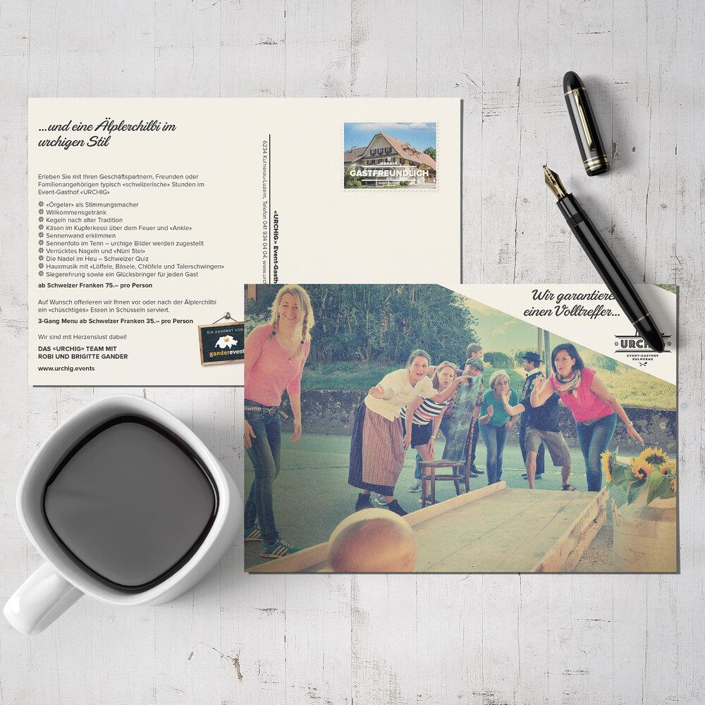 Postkarte Urchig Event Gasthof Kulmerau als Kundenreferenz von Bacher PrePress