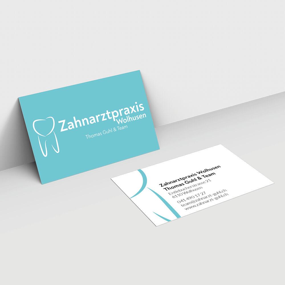 Visitenkarte Zahnarztpraxis Guhl Wolhusen als Kundenreferenz von Bacher PrePress