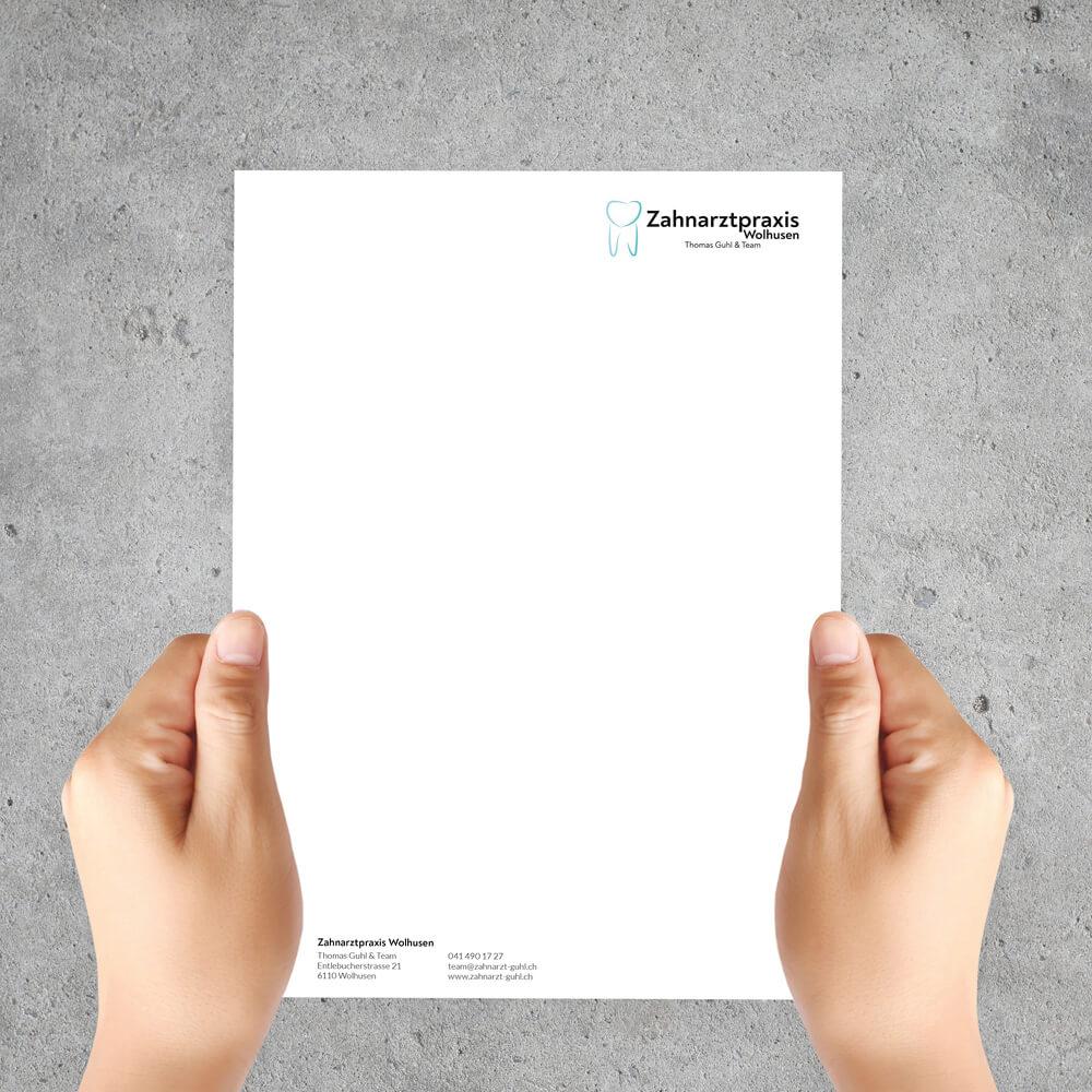 Briefpapier Zahnarztpraxis Guhl Wolhusen als Kundenreferenz von Bacher PrePress